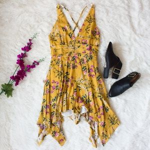 Pants - Mustard Yellow Floral Print Romper Playsuit